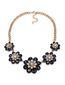 Fashion Navy Flower Shape Decorated Necklace