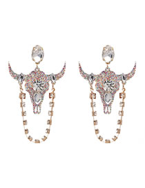 Fashion Multi-color Cattle Shape Decorated Earrings