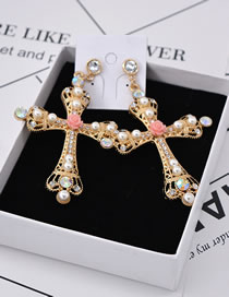 Fashion Multi-color Cross Shape Decorated Earrings