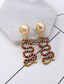 Vintage Gold Color Snake Shape Decorated Earrings