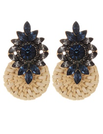 Fashion Sapphire Blue Diamond Decorated Earrings