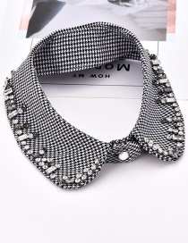 Fashion White+black Diamond Decorated Color Matching Fake Collar