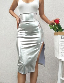 Fashion Silver Color Pure Color Decorated Skirt