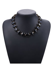 Fashion Black Round Shape Decorated Necklace