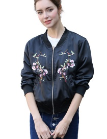 Fashion Navy Embroidered Flower Decorated Baseball Coat