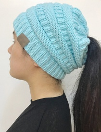 Fashion Light Blue Label Decoratedpure Color Knitted Hat