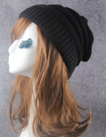 Fashion Black Pure Color Decorated Knitted Hat