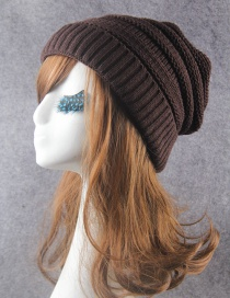 Fashion Coffee Pure Color Decorated Knitted Hat