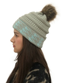 Fashion Light Gray Fuzzy Ball Decorated Knitted Hat