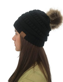 Fashion Black Label&fuzzy Ball Decorated Knitted Hat