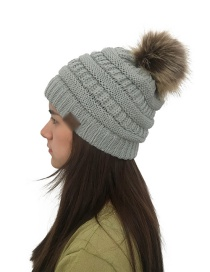 Fashion Light Gray Label&fuzzy Ball Decorated Knitted Hat