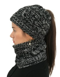 Fashion Black Hemp Flowers Shape Design Hat&scarf