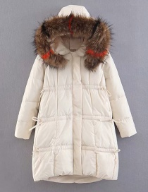 Fashion White Fur Collar Decorated Cotton-padded Clothes