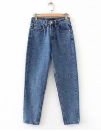 Fashion Blue High Waist Design Pure Color Jeans