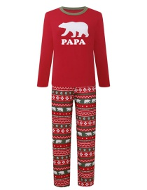 Fashion Red Bear Pattern Decorated Pajamas For Dad