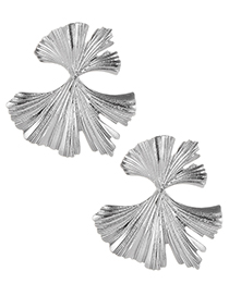 Fashion Silver Color Pure Color Design Leaf Shape Earrings