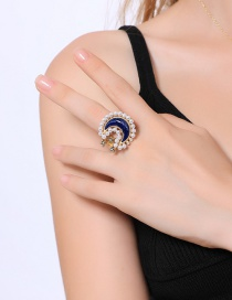 Fashion Blue Moon Shape Decorated Ring