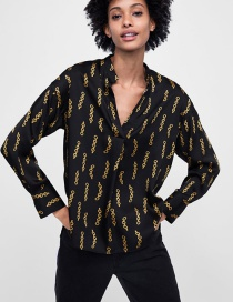 Fashion Black Chains Pattern Decorated Long Sleeves Smock