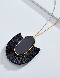 Elegant Dark Blue Geometric Shape Design Long Necklace