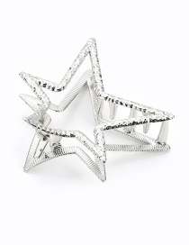 Elegant Silver Color Pure Color Design Star Shape Hair Claw (large)