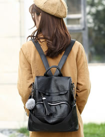 Fashion Black Pure Color Design High-capacity Backpack