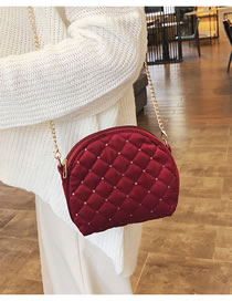 Fashion Red Grid Shape Design Pure Color Shoulder Bag
