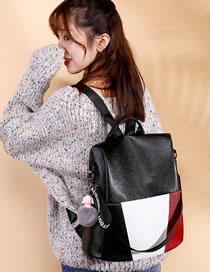 Fashion Black+white Color Matching Design High-capacity Backpack