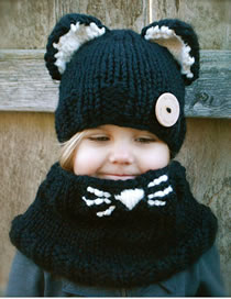 Lovely Black Cat Ears Shape Design Child Knitted Hat(2pcs)