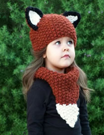 Lovely Red+brown Fox Shape Design Child Knitted Hat(2pcs)