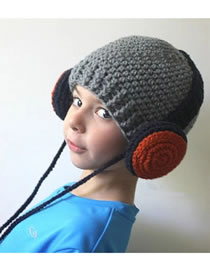 Lovely Gray Headset Shape Design Child Knitted Hat