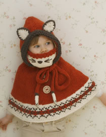 Lovely Brown Cartoon Fox Shape Design Child Knitted Hat