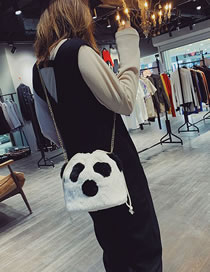 Fashion White Cartoon Panda Decorated Shoulder Bag