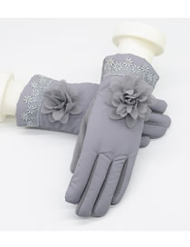 Fashion Gray Flowers Decorated Touch-screen Gloves