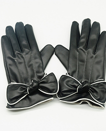 Fashion Black Bowknot Decorated Pure Color Warm Gloves