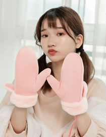 Fashion Pink Cartoon Ears Shape Decorated Warm Gloves