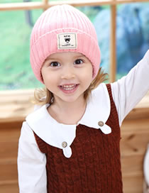 Fashion Pink Label Decorated Pure Color Child Knitted Hat