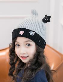 Fashion Gray Cartoon Pentagram Decorated Child Hat