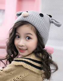 Fashion Gray Cartoon Deer Decorated Baby Knitted Hat