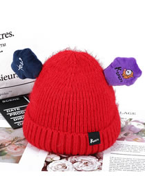 Fashion Red Ears Shape Decorated Child Knitted Hat