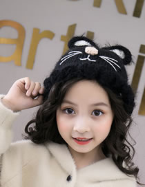 Fashion Black Cat Shape Design Pure Color Child Knitted Hat