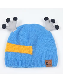 Fashion Blue Antlers Shape Decorated Child Knitted Hat