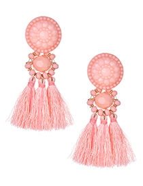 Fashion Dark Pink Beads Decorated Long Tassel Earrings