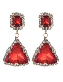 Fashion Red Triangle Shape Design Pure Color Earrings