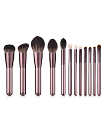 Fashion Pink+brown Flame Shape Design Cosmetic Brush(12pcs)