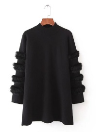 Sweet Black Pure Color Design Round Neckline Sweater