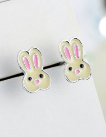Fashion Pink+beige Cartoon Rabbit Shape Design Earrings