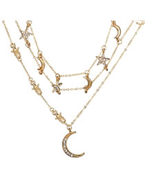 Fashion Gold Color Moon Pendant Decorated Multi-layer Necklace