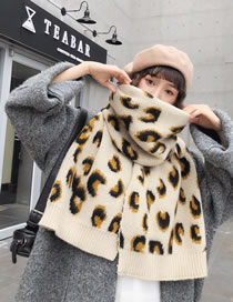 Fashion Beige+brown Leopard Pattern Design Thicken Scarf