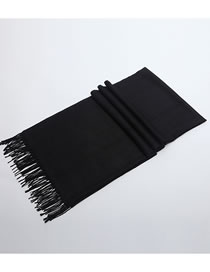 Fashion Black Tassel Decorated Pure Color Scarf