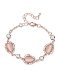 Fashion Rose Gold+pink Waterdrop Shape Diamond Decorated Bracelet